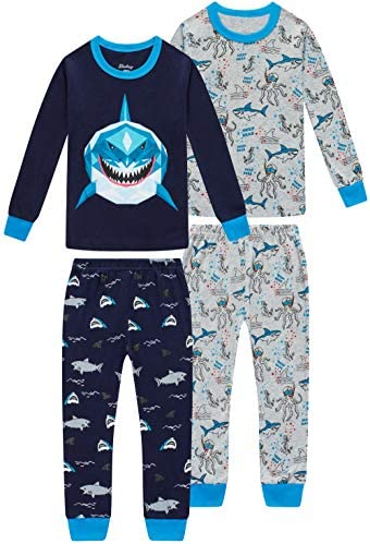 Boys Shark Pajamas Christmas Children Clothes Toddler Kids 4 Pieces Pants Set Baby Girls Clothes product image