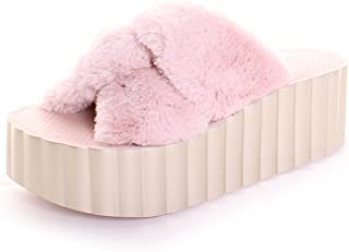 1db4d15bc39380 Tory Burch Faux Fur Scallop Wedge Slide in Sea Shell Pink