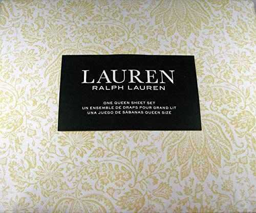 Lauren Queen Size Floral Print Sheet Set Cotton Yellow and White