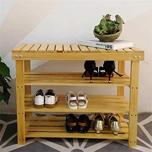 HLL Zapatero simple espacio para el hogar, madera maciza, polvo, moderno y sencillo, mueble de almacenamiento para dormitorio, color madera, 90 x 30 x 55 cm