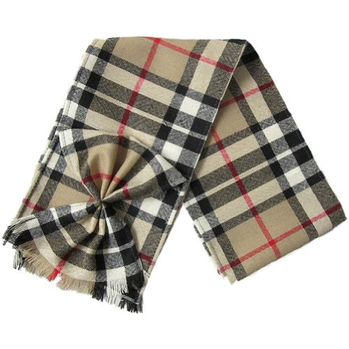 Ingles Buchan - Petite écharpe écossaise - femme - avec noeud plissé - tartan - Thomson camel - 112 x 13 cm
