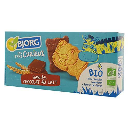 Bjorg Les P'tits Curieux – Sablés Chocolat au lait – Biscuits enfants bio - 6 sachets de 2 biscuits – 192 g