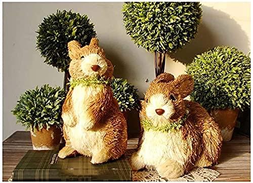 DZX Decoraciones de jardín para Valla Escultura de Estatua de Conejo, Paja Tejida Simulación Artesanía de Animales Regalos de Pascua Jardín Decoraciones de jardín