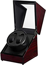 Bloodyrippa Dual Automatic Watch Winder Box, Ebony Grain Finish, Carbon Fiber + PU Leather Interior, Powered by AC/DC or D Batteries