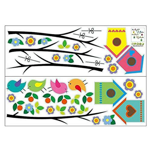 Pumprout Wanddekoration Blumenzweig Vogelhaus und Blumenhaus dekorative Aufkleber für Wohnzimmer Kinderzimmer