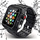 APOBICO Compatible for Apple Watch Band with Case 44mm Series 5/4, Waterproof Case with Soft Silicone Band and Anti-Scratch Screen Protector, 360°Protective Case Compatible with iWatch 44mm