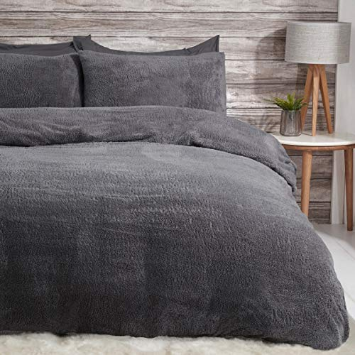 Sleepdown Teddy Fleece Duvet Cover Quilt Bedding Set with Pillow Case Thermal Warm Cosy Super Soft - Single - Charcoal