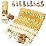 DEMMEX Certified 100% Organic Cotton & Organic Dye Prewashed XL Diamond Weave Turkish Towel Peshtemal Blanket for Bath,Beach,Pool,SPA,Gym,71x36 Inches (Mustard)