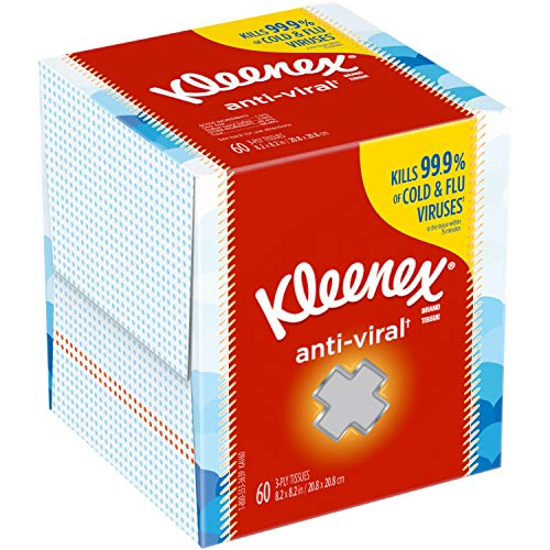 Kleenex AntiViral Facial Tissues 1 Cube Box 60 Tissues  1 Box