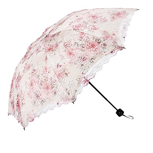 Honeystore Flower Print Vintage Parasol Anti-UV Folding Lace Embroidery Umbrella 3 Folding Beige
