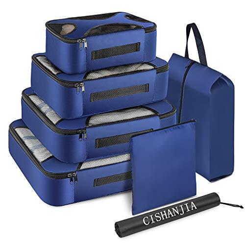 CISHANJIA Packing Cubes, Packwürfel Kompression, 7 teilige Koffer Organizer Reise Organisation Zubehör mit Kosmetiktasche, Kleidertaschen Wäschebeutel und Schuhbeutel (Marineblau)