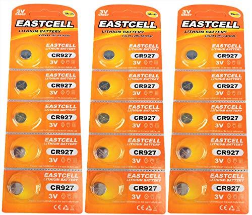 EASTCELL 15 x CR927 3V Lithium Knopfzelle 30 mAh (3 Blistercards a 5 Batterien) EINWEG Markenware FBA