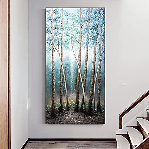 CHBOEN Peinture décorative KYQ Tableau de l'huile originale Arbres sur toile Imprimé Nordic Poster Art Art Picture Pour vivre Noom Décoration de la maison Industrie (Size (Inch) : 40x80cm No Frame)