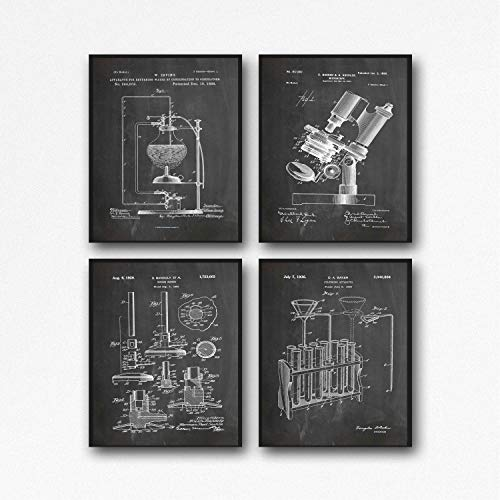 Science Posters Scientific Poster Laboratory Decor Science Lab Poster Vintage Microscope Test Tubes Bunsen Burner Science Prints WB380-WB383 (13 x 19, Chalkboard Black)