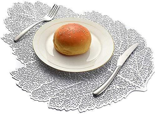 Hao-zhuokun Set van 2-10 zilver/goud bladvorm holle placemats, antislip, warmte-isolatie, wasbaar, wasbaar, placemat, party, keuken, eettafel, decoratie