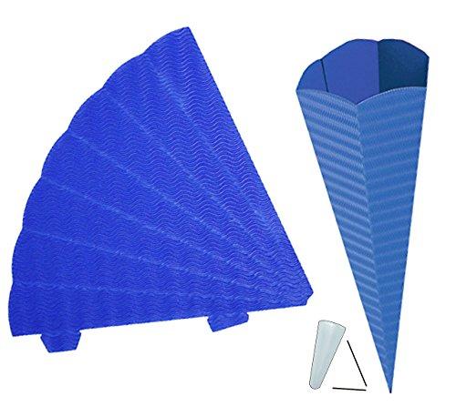 alles-meine.de GmbH Schultüte - Rohling Wellpappe - blau / dunkelblau - 70 cm - mit / ohne Kunststoff Spitze - Zuckertüte zum selber Basteln - 6 eckig - Bemalen und Bekleben Bast..