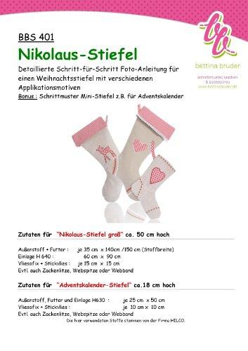 BBS 401 Schnittmuster für Nikolaus-Stiefel - mit Fotoanleitung bettinabruder®