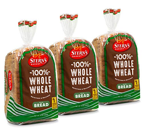100% Whole Wheat Bread Sliced - 3 Pack - 16 oz per Loaf | Delicious Sandwich Bread | Kosher Bread | Dairy, Nut & Soy Free - Stern's Bakery