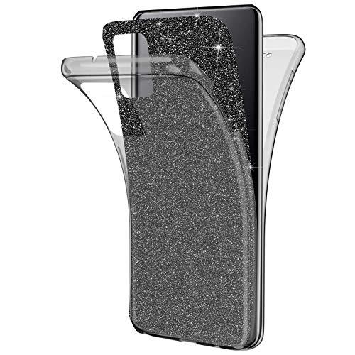 Kompatibel mit Samsung Galaxy A71 Hülle,Glänzend Bling Glitzer 360 Grad Full Body Transparente Handyhülle Weich Silikon TPU Vorderseite Zurück Schutz Schutzhülle Case für Galaxy A71,Schwarz