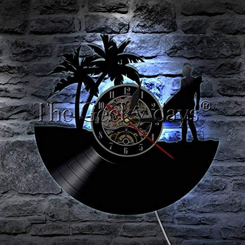 XYVXJ Reloj de Pared de Vinilo 1 Pieza Surf Hobby Vinyl Record Reloj de Pared Verano Surf Time Reloj de Pared DecoraciónSurfing Wave Reloj Surfer Gift