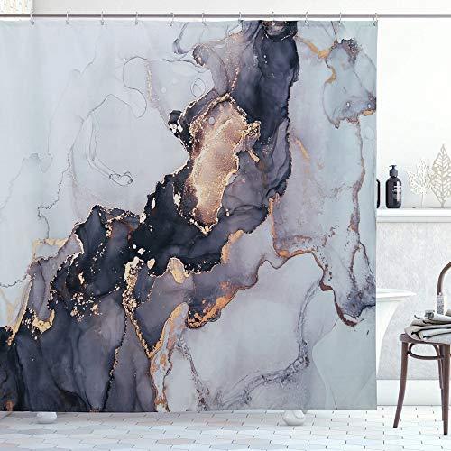 RoomTalks Luxuriöser Duschvorhang, abstrakter Stoff, extra lang, modern, schwarz und gold, Marmor, Badezimmer-Duschvorhang-Set, 244 cm, moderner Duschvorhang, extra lang (183 cm B x 244 cm L, Gloden)