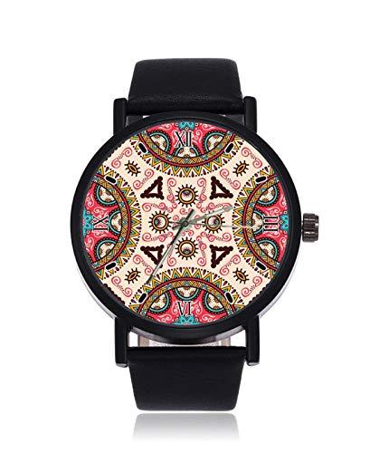 Indische Ottomanen-Motive, modische Analog-Quarz-Armbanduhr, schwarzes Stahl-Lederarmband, Armbanduhr für Damen und Herren