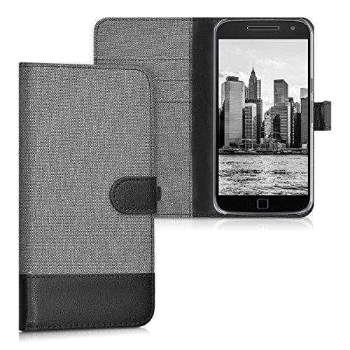 kwmobile Wallet Hülle kompatibel mit Motorola Moto G4 / Moto G4 Plus - Hülle mit Ständer - Handyhülle Kartenfächer Grau Schwarz