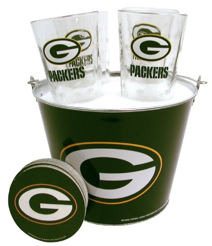 NFL Green Bay Packers Satin Etch Bucket and 4 Glass Gift Set