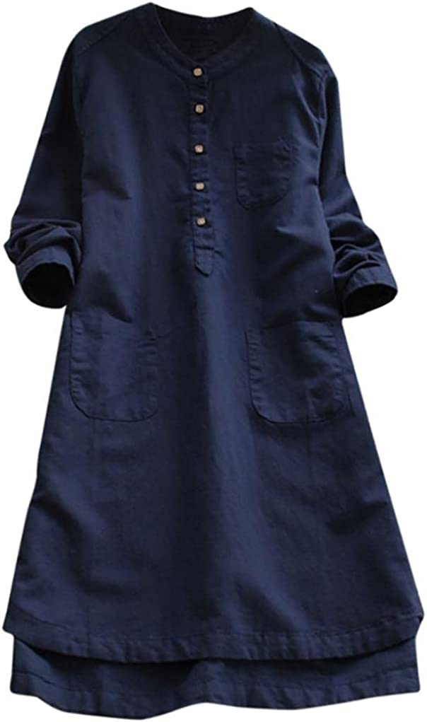 Kulywon Women Vintage Long Sleeve Casual Loose Button Tops Blouse Shirt Dress