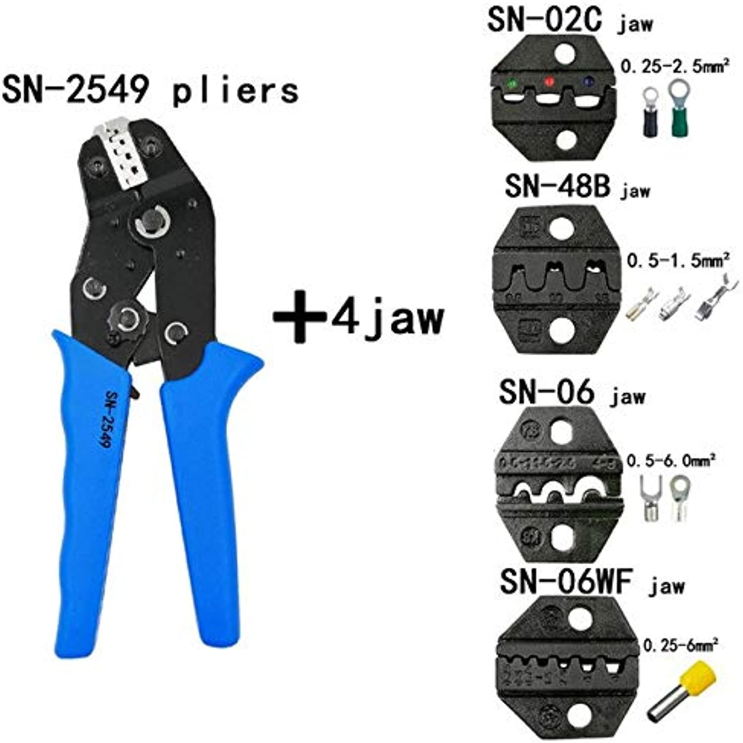 Kit Stripping Cutting Wire Pliers 1041 Suit Tools SN2549 0.081mm2 Pliers 4jaw for Plug Tube Insulation Terminal Brand Tools   SN2549 4JAW