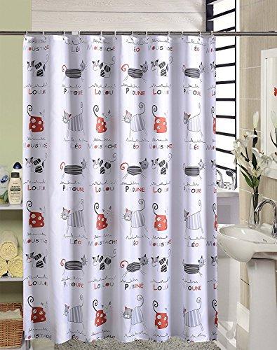 Duschvorhang Anti-Schimmel & Wasserdicht Karikatur Katzen Motiv Badezimmer Badvorhang mit verstärktem Saum, mit Haken 180 x 200cm Weiß