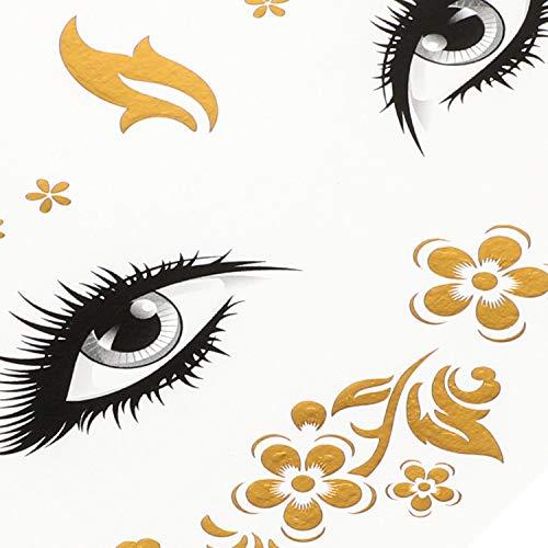 Konsait 8 Sheets Face Tattoo Sticker Metallic Temporary Transfer Tattoo Waterproof Face Jewels for Women Girls Make Up Dancer Costume Parties, Shimmer Glitter Gold Tattoos,Scale Tears Butterfly Freckl 2