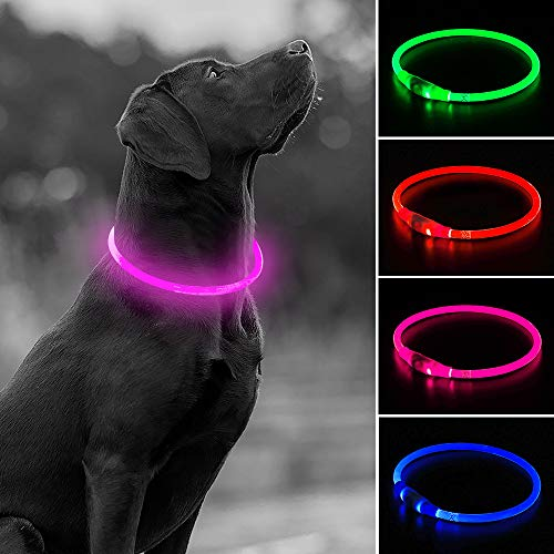 USB Rechargeable LED Dog Collar, Glow in The Dark Flashing Pet Collar, TPU Cuttable Light Up Doggie Collars for Nighttime Dog Walking (Pink)