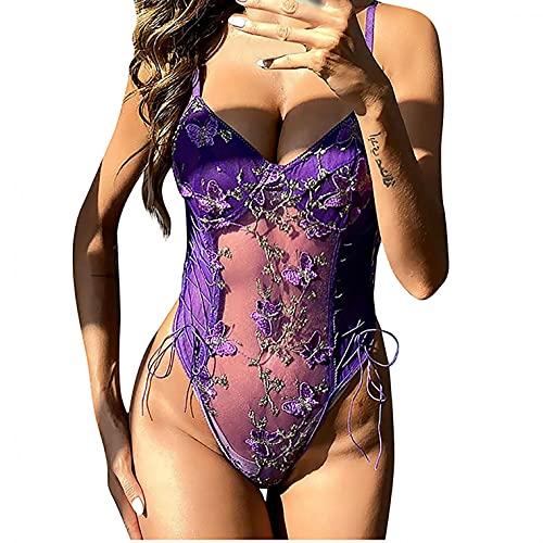 JISHII Bodys für Damen Blumen-Stickerei Nettogarn Transparent Durchsichtige Hosenträger Conjoiled Unterwäsche Mehrfarbig Übergröße Verführerisch Sexy Erotische Reizwäsche Liebe Unterwäsche