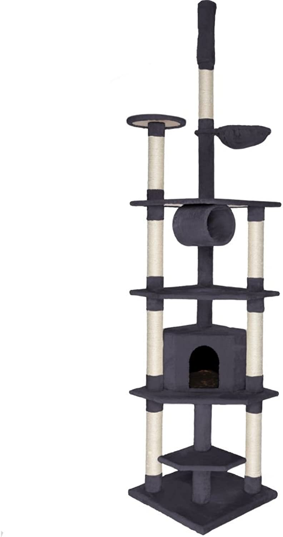 Dibea Cat Tree Activity Centre Ceiling High Sisal Climbing Toy, 240 to 260 cm, Grey