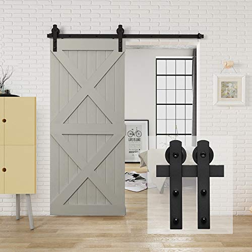HomLux 6.6ft Heavy Duty Sturdy Sliding Barn Door Hardware Kit, Single Door-Smoothly and Quietly, Easy to Install and Reusable - Fit 1 3/8-1 3/4' Thickness & 40' Wide Door Panel, Black(I Shape Hanger)
