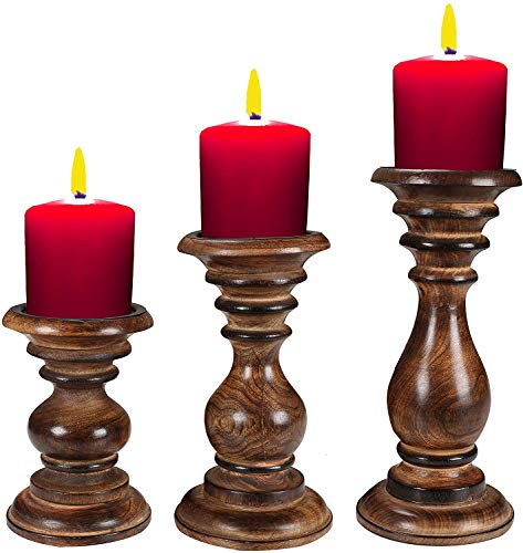 Candle Holder Stand Wooden, Candalbras, Candle Holders, Unity Candle Holders, Rounded Turned Colums, Country Style Idle Gift for Wedding, Party, Home, Spa -7.5 Inch Set of 2 - Natural