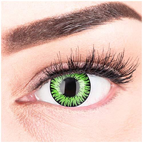 Farbige Grüne Kontaktlinsen Anime Werewolf Green Circle Lenses Ohne Stärke Heroes Of Cosplay Stark Deckend Intensive Farben mit gratis Kontaktlinsenbehälter farbig für Halloween Fasching