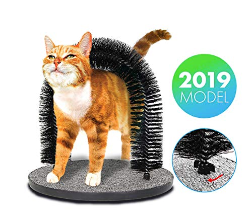 WendyMom Cat Arch Self Groomer and Massaging Brush,Cat Scratching Pads,Updated Fixing by Screws