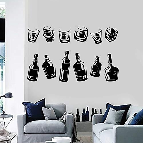 Wijnfles muurtattoo drinkglas collectie wijnglas bar bar keuken interieur koelkast vinyl sticker muurschildering 63x102cm