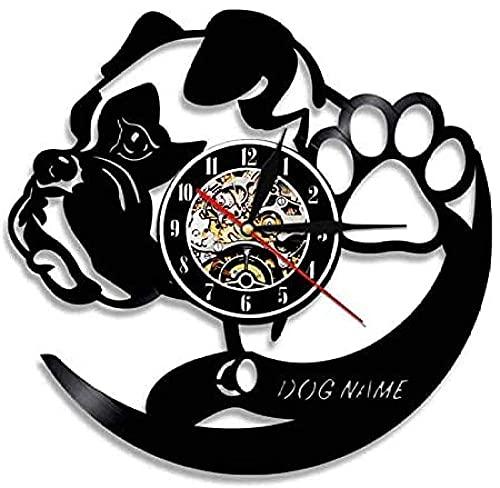 yltian Reloj de Pared con Disco de Vinilo, Perro Salchicha de Pelo Duro, Perro Salchicha, Reloj de Pared para Perro, Animal, Mascota, Pug, Cachorro, Regalo para Amante del Perro
