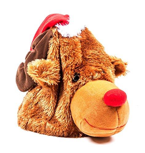 Singende und tanzende Weihnachtsmütze, Rentier-Hut aus Plüsch, singt und winkt, Größe ca. 20 cm