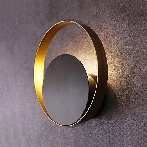 MQW Después De Nordic Light Lujo Dormitorio De Noche Creativo Minimalista Geométrico Circular Moderna Lámpara De Pared De La Sala De La Lámpara Negro 25 * 28 CM