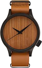 Bluego Unisex Bamboo Wooden Watch for Men Women, Fashion Leather Strap Quartz Analog Casual Watches Lightweight Wristwatch