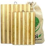 Buabi Conjunto 2 Tablas de Cortar Cocina. Tabla de Madera de bambú para Picar, tamaño Gr...