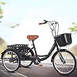YZ-YUAN Deportes al Aire Libre Triciclos para Adultos Velocidad Variable, Triciclos para Adultos Bicicletas de 3 Ruedas, Bicicletas de Tres Ruedas Triciclo de Crucero con Cesta de la Compra, Asiento