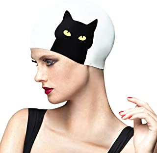 BALNEAIRE Swim Cap Women Waterproof Swimming Cap for Long Hair with Cat Printed