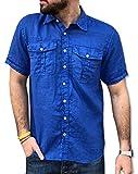 CAMICIE & dintorni Camicia Puro Lino Uomo Manica Corta TG. S, M, L, XL, XXL, 3XL Doppio Taschino Art. G18b (M, Bluette)