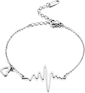 Stainless Steel 18k Rose Gold Plated EKG Heartbeat Love Cardiogram Adjustable Bracelet Jewelry for Women 3 Colors