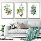 Carteles e impresiones Tropical Palm Ginko Leaf Green Small Fresh Print Poster Moderno baño de oficina Decoración para el hogar 3 piezas 40x60cm sin marco